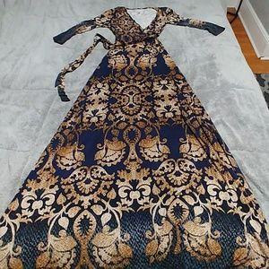 Dresses & Skirts - Medium brocade faux wrap maxi dress